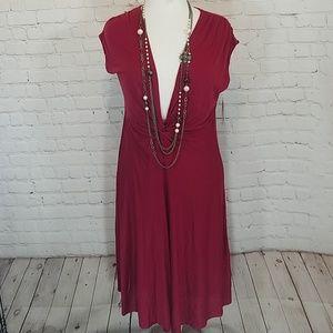 Red low cut dress